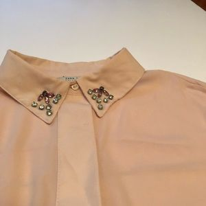 Pink ZARA blouse with embellished collar